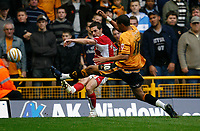 Photo: Steve Bond/Sportsbeat Images.<br />Wolverhampton Wanderers v Bristol City. Coca Cola Championship. 03/11/2007. ay Bothroyd lunges in as a Bristol defender clears