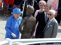 Flat Horse Racing - 2019 Investec Derby Festival - Saturday, Day Two (Derby Day)<br /> <br /> HRH The Queen arrives at the course to unveil  the Bronze Statue of Lester Piggott (also present - right) with the sculptor, Willie Newton next to him at Epsom Racecourse.<br /> <br /> COLORSPORT/ANDREW COWIE