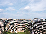 The Watergate courtyard and east buildings, with the Washington Monument in the background
