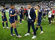 Kylian Mbappe of PSG between Thiago Silva and Angel Di Maria following the French Ligue Cup final match between Paris Saint-Germain (PSG) and Olympique Lyonnais (OL, Lyon) on July 31, 2020 at the Stade de France, in Saint-Denis, near Paris, France - Photo Juan Soliz / ProSportsImages / DPPI