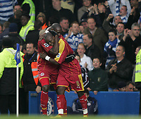Photo: Lee Earle.<br /> Chelsea v Reading. The Barclays Premiership. 26/12/2006. Reading's Leroy Lita (R) is congratulated by Ibrahima Sonko after scoring their first.