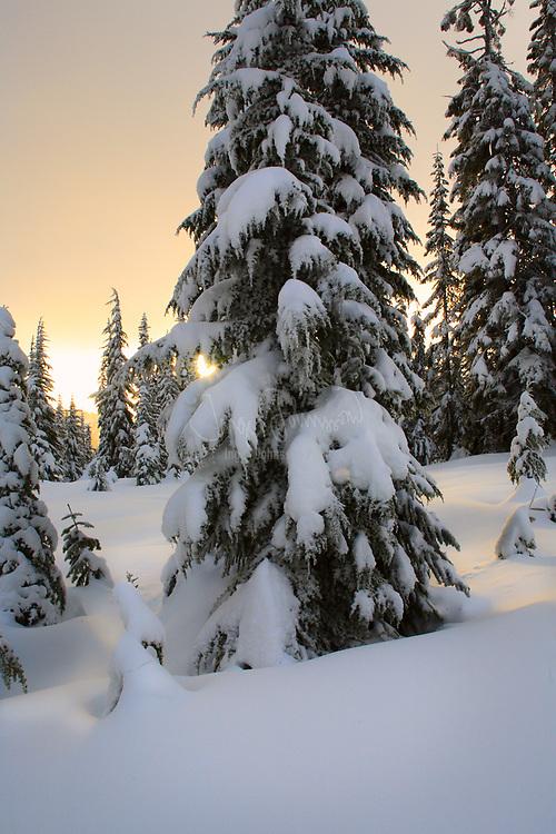 Skyline Lake, in Washington's Cascade Mountains, snowed in during winter