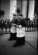 Archbishop Ryan Installed as Archbishop of Dublin..1972..27.02.1972..02.27.1972..27th February 1972..The installation of the Most Rev Dr Dermot Ryan as Archbishop of Dublin took place in The pro Cathedral,Dublin on Sunday 27th Feb 1972..Image of Cardinal Conway (L) passing the honour guard of girl guides at the Pro Cathedral.