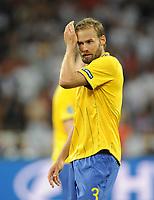 Fotball<br /> EM 2012<br /> 15.06.2012<br /> England v Sverige<br /> Foto: Witters/Digitalsport<br /> NORWAY ONLY<br /> <br /> Olof Mellberg (Schweden)<br /> Fussball EURO 2012, Vorrunde, Gruppe D, Schweden - England 2:3