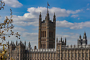 April 7, 2020, London, England, United Kingdom: A view of the Palace of Westminster opposite St Thomas' Hospital in central London as British Prime Minister Boris Johnson was moved to intensive care after his coronavirus symptoms worsened in London, Tuesday, April 7, 2020. Johnson was admitted to St Thomas' hospital in central London on Sunday after his coronavirus symptoms persisted for 10 days. Having been in hospital for tests and observation, his doctors advised that he be admitted to intensive care on Monday evening. The new coronavirus causes mild or moderate symptoms for most people, but for some, especially older adults and people with existing health problems, it can cause more severe illness or death. (Credit Image: © Vedat Xhymshiti/ZUMA Wire)