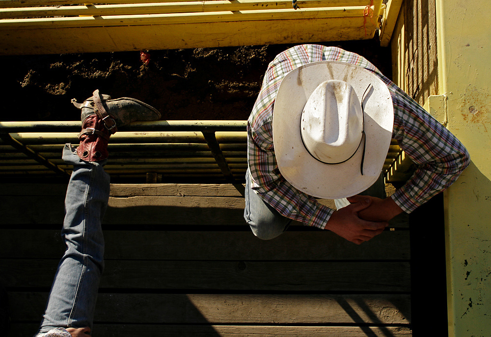 Riders warm up and relax prior to Friday night competition during the 2008 Horse Heaven Round-Up Rodeo at the Benton Franklin County Fair in Kennewick, Wash.