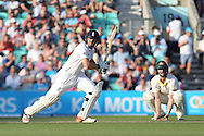Wicketkeeper Jos Buttler of England hits a boundary during the 3rd day of the Investec Ashes Test match between England and Australia at the Oval, London, United Kingdom on 22 August 2015. Photo by Phil Duncan.