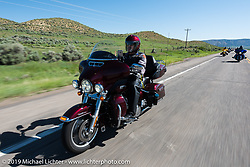 Barton Burress of Layton, UT on his 2015 Ultra Classic riding from Steamboat Springs to Doc Holliday's Harley-Davidson in Glenwood Springs during the Rocky Mountain Regional HOG Rally, Colorado, USA. Thursday June 8, 2017. Photography ©2017 Michael Lichter.