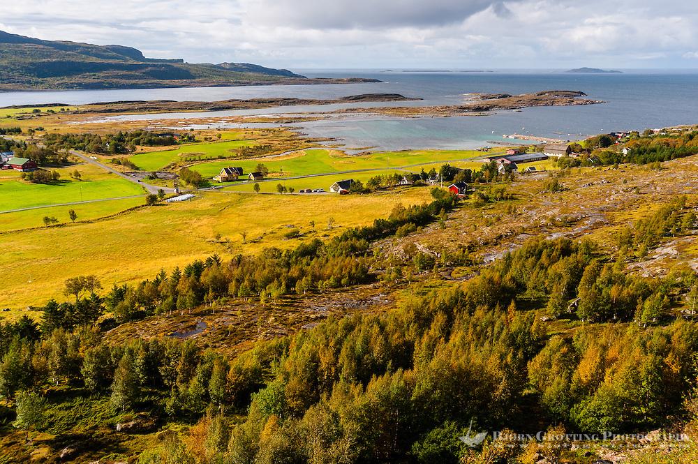 Norway, Trondelag. On the way up to Harbakshola in Stokksund. View of Harbak.