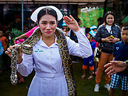 """13 JANUARY 2018 - BANGKOK, THAILAND:      A Thai army nurse salutes while holding a python during Children's Day activities at the Royal Thai Army's King's Guard 2nd Cavalry Camp in central Bangkok. Children's Day is called """"Wan Dek"""" in Thai. Many government offices and military bases hold special activities for children as do shopping malls.  PHOTO BY JACK KURTZ"""