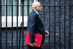 London, UK. 21 May, 2019. Sajid Javid MP, Home Secretary, leaves 10 Downing Street following a mid-afternoon meeting. He left at around the same time as Foreign Secretary Jeremy Hunt, International Trade Secretary Liam Fox, Defence Secretary Penny Mordaunt, International Development Secretary Rory Stewart, Attorney General Geoffrey Cox and Chief Whip Julian Smith and just before Prime Minister Theresa May left to make a statement on her Brexit Withdrawal Agreement Bill following Cabinet approval earlier in the day.