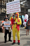 Pro Brexit protester dressed up as a chicken in a satire on Jeremy Corbyn in Westminster on the day after Parliament voted to take control of Parliamentary proceedings and prior to a vote on a bill to prevent the UK leaving the EU without a deal at the end of October, on 5th September 2019 in London, England, United Kingdom. Yesterday Prime Minister Boris Johnson faced a showdown after he threatened rebel Conservative MPs who vote against him with deselection, and vowed to aim for a snap general election if MPs succeed in a bid to take control of parliamentary proceedings to allow them to discuss legislation to block a no-deal Brexit.