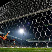 Fenerbahce's scores during the Turkish soccer super league match Bursaspor between Fenerbahce at the Ataturk Stadium in Bursa Turkey on Monday, 24 November 2014. Photo by Aykut AKICI/TURKPIX
