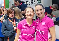 HAMBURG  (Ger) - Match 20,  for FINAL, LMHC Laren - Dinamo Elektrostal (Rus) (3-1).  Photo: European Champion , LMHC Laren.  umpires Celine Martin-Schmets (Bel) and Michelle Meister (Ger) (r).  Eurohockey Indoor Club Cup 2019 Women . WORLDSPORTPICS COPYRIGHT  KOEN SUYK
