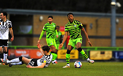Mitchell Clark of Port Vale is fouled by Ebou Adams of Forest Green Rovers- Mandatory by-line: Nizaam Jones/JMP - 16/01/2021 - FOOTBALL - innocent New Lawn Stadium - Nailsworth, England - Forest Green Rovers v Port Vale - Sky Bet League Two