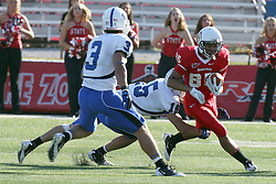 22 October 2011: Lechein Neblett moves around the left side during an NCAA football game  the Indiana State Sycamores lost to the Illinois State Redbirds (ISU) 17-14 at Hancock Stadium in Normal Illinois.