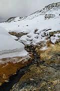 Seltun geothermal area in winter, Kleifarvatn nature park, Iceland