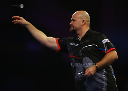 Karel Sedlacek throws during his match against Keegan Brown during day three of the William Hill World Darts Championships at Alexandra Palace, London.