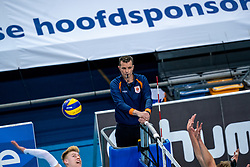 Referee Daniel Jettkandt in action during the league match between Draisma Dynamo vs. Amysoft Lycurgus on March 13, 2021 in Apeldoorn.