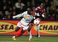 Fotball<br /> Frankrike<br /> Foto: Dppi/Digitalsport<br /> NORWAY ONLY<br /> <br /> FOOTBALL - FRENCH CHAMPIONSHIP 2007/2008 - L1 - FC METZ v AS NANCY LORRAINE - 27/10/2007 - MARC ANTOINE FORTUNE (ASNL) / SEBASTIEN BASSONG (FCM)