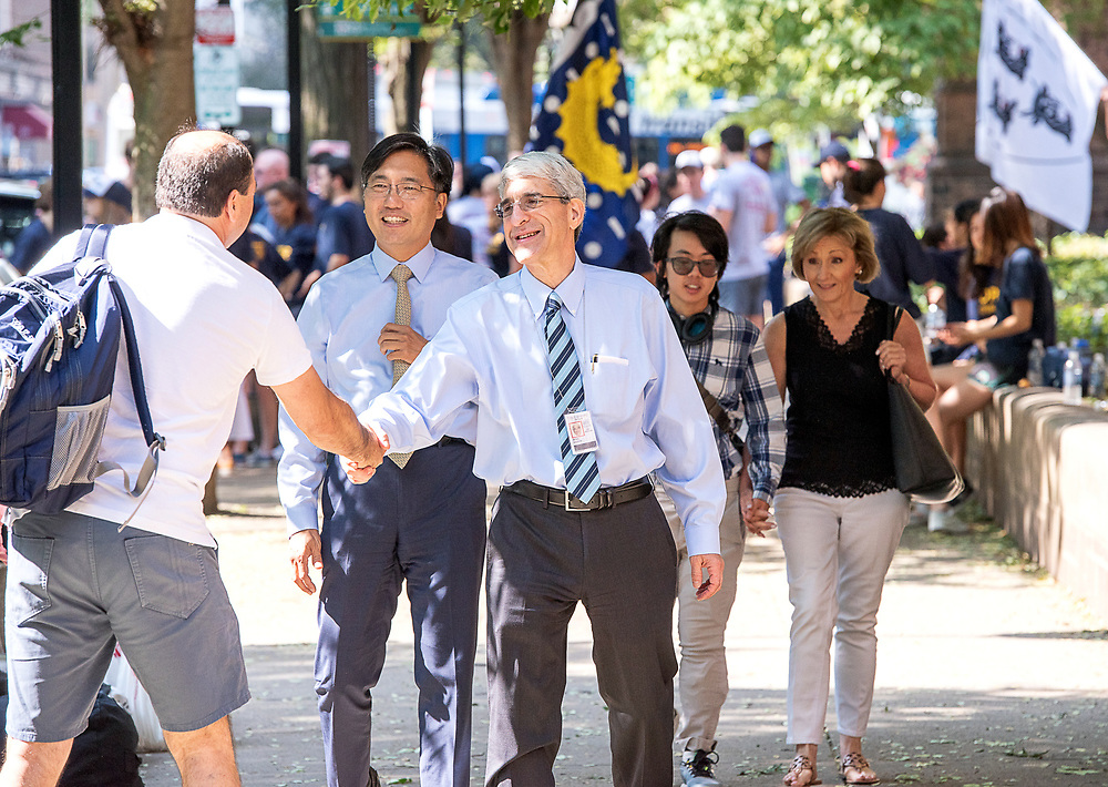 Photography ©Mara Lavitt<br /> August 24, 2018<br /> <br /> First-year-student move-in day at Yale. Yale College Dean Marvin Chun, left, and Yale President Peter Salovey.
