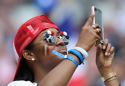 MOSCOW, July 15, 2018  A fan is seen prior to the 2018 FIFA World Cup final match between France and Croatia in Moscow, Russia, July 15, 2018. (Credit Image: © Yang Lei/Xinhua via ZUMA Wire)
