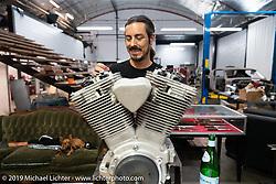 Custom bike builder Lock Baker in his shop. Los Angeles, CA, USA. Thursday, June 21, 2018. Photography ©2018 Michael Lichter.