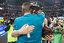 June 19, 2018 - Vitoria, Spain - Real Madrid Luka Doncic and Fabien Causeur celebrating the championship during Liga Endesa Finals match (4th game) between Kirolbet Baskonia and Real Madrid at Fernando Buesa Arena in Vitoria, Spain. June 19, 2018. (Credit Image: © Coolmedia/NurPhoto via ZUMA Press)