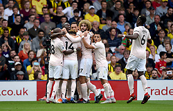 Manchester United's Romelu Lukaku (second left) celebrates scoring his side's first goal of the game