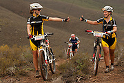 Naomi Rothman (l) and Eulogy du Plessis (r) make it up the hill during stage 4 (Time trial) of the 2011 Absa Cape Epic Mountain Bike stage race held at the Worcester Gymnasium in Worcester, South Africa on the 31 March 2011..Photo by Greg Beadle/Cape Epic/SPORTZPICS