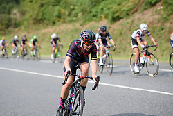 Tiffany Cromwell attacks toward the end of the third lap at Grand Prix de Plouay Lorient Agglomération a 121.5 km road race in Plouay, France on August 26, 2017. (Photo by Sean Robinson/Velofocus)