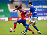 Tyrhys Dolan (39) of Blackburn Rovers battles for possession with Perry Ng (38) of Cardiff City during the EFL Sky Bet Championship match between Cardiff City and Blackburn Rovers at the Cardiff City Stadium, Cardiff, Wales on 10 April 2021.