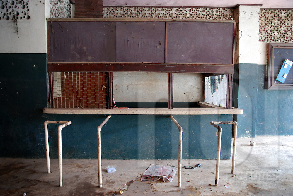 box office in the abandoned cinema of Bouasavanh, Vientiane, Laos, Asia