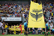 Wellington Phoenix take the field, during their 1-0 win over Melbourne City FC, during the Hyundai A-League football match, between Wellington Phoenix and Melbourne City FC, held at Eden Park, Auckland, New Zealand.  15  February  2020    Photo: Brett Phibbs / www.photosport.nz