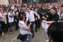 © Licensed to London News Pictures. 29/06/2021. London, UK. England fans arrive at Wembley Stadium to attend England's quarter final football game against Germany in the 2020 European Championship against Germany. Photo credit: Ray Tang/LNP