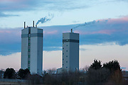 Two towers operating at the Quorn Factory on Nelson Avenue, Billingham, County Durham, United Kingdom. Quorn has recently invested around £150m to build these fermenters, which are part of the largest site so far.