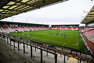 A general view of Leigh Sports Village Stadium before the FA Women's Super League match between Manchester United Women and BIrmingham City Women at Leigh Sports Village, Leigh, United Kingdom on 24 January 2021.