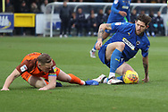 AFC Wimbledon midfielder Anthony Wordsworth (40) winning tackle during the EFL Sky Bet League 1 match between AFC Wimbledon and Southend United at the Cherry Red Records Stadium, Kingston, England on 24 November 2018.