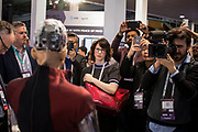 Tuesday 25th, 2019. BARCELONA, SPAIN. Atendees reacting at robot Sophia, by Hanson Robotics. The robot listens and speaks using AI. Mobile World Congress Barcelona 2019 (photo Edu Bayer)