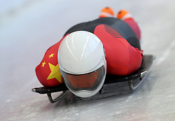 Wenqiang Geng of China practices during Men's Skeleton during a preview day at the Olympic Sliding Centre ahead of the PyeongChang 2018 Winter Olympic Games in South Korea. PRESS ASSOCIATION Photo. Picture date: Wednesday February 7, 2018. See PA story OLYMPICS Winter. Photo credit should read: Mike Egerton/PA Wire. RESTRICTIONS: Editorial use only. No commercial use.