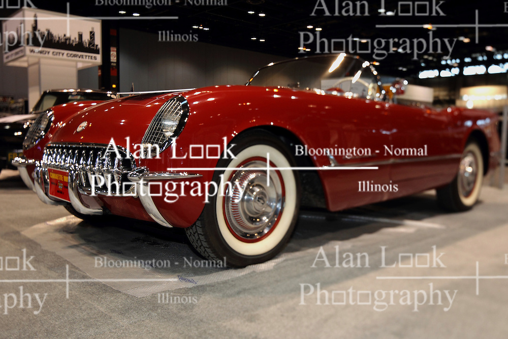 12 February 2015:   1954 Chevrolet Corvette.<br /> <br /> First staged in 1901, the Chicago Auto Show is the largest auto show in North America and has been held more times than any other auto exposition on the continent. The 2015 show marks the 107th edition of the Chicago Auto Show. It has been  presented by the Chicago Automobile Trade Association (CATA) since 1935.  It is held at McCormick Place, Chicago Illinois
