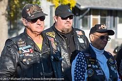 Stop in Groton, SD for a flag raising ceremony during the USS South Dakota submarine flag relay across South Dakota. USA. Sunday October 8, 2017. Photography ©2017 Michael Lichter.