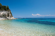 Scenic Kipos Beach on the east coast of Paxos, The Ionian Islands, The Greek Islands, Greece, Europe