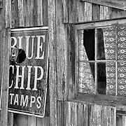 Blue Chip Stamp Sign Wooden Shack - Golden, Oregon - HDR - Infrared Black & White