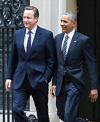 Downing Sreet, London, April 22nd 2016. United States President Barak Obama leaves 10 Downing Street with British Prime Minister David Cameron to address a press conference. ©Paul Davey<br /> FOR LICENCING CONTACT: Paul Davey +44 (0) 7966 016 296 paul@pauldaveycreative.co.uk
