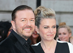 © Licensed to London News Pictures. 24/03/2014, UK. Ricky Gervais; Jane Fallon, Muppets Most Wanted - VIP screening, Curzon Mayfair, London UK, 24 March 2014. Photo credit : Richard Goldschmidt/Piqtured/LNP