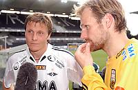 Fotball Tippeligaen 31.07.05 Rosenborg ( RBK ) - Bodø/Glimt <br /> 2-0<br /> Frode Johnsen og Erik Hoftun intervjues sammen<br /> Foto: Carl-Erik Eriksson, Digitalsport