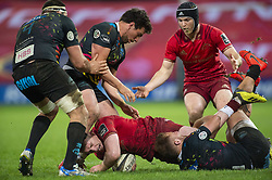 March 23, 2019 - Limerick, Ireland - Rory Scannell of Munster tackled by Giulio Bisegni of Zebre during the Guinness PRO14 match between Munster Rugby and Zebre at Thomond Park Stadium in Limerick, Ireland on March 23, 2019  (Credit Image: © Andrew Surma/NurPhoto via ZUMA Press)