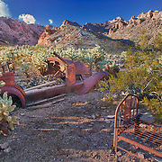 Abandoned Ford And Steel Bed Frame - Eldorado Canyon - Nelson NV - HDR