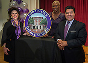 Elyse Lanier, Houston ISD Trustee Jolanda Jones and Superintendent Richard Carranza pose for a photograph with a marker during a renaming ceremony at Bob Lanier Middle School, September 21, 2016.